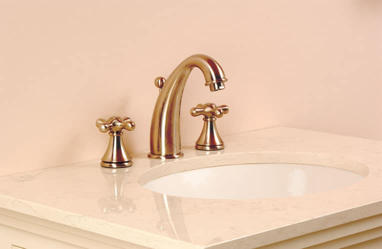 A split-set bathroom faucet is relatively easy to install, especially if you're starting from scratch with a new cabinet and countertop.