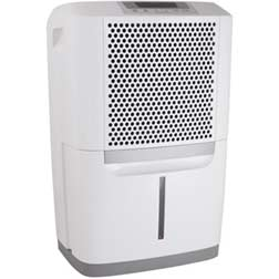 Frigidaire 50 pint white dehumidifer with water level indicator and honeycomb grill design.