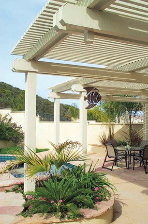Aluminum patio roofing holds up against harsh weather. Photo: SAE Builders