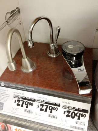 Sink-top hot water dispensers are available in a variety of styles.