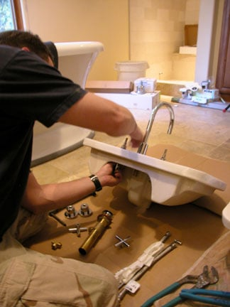 how to install a faucet sink removed