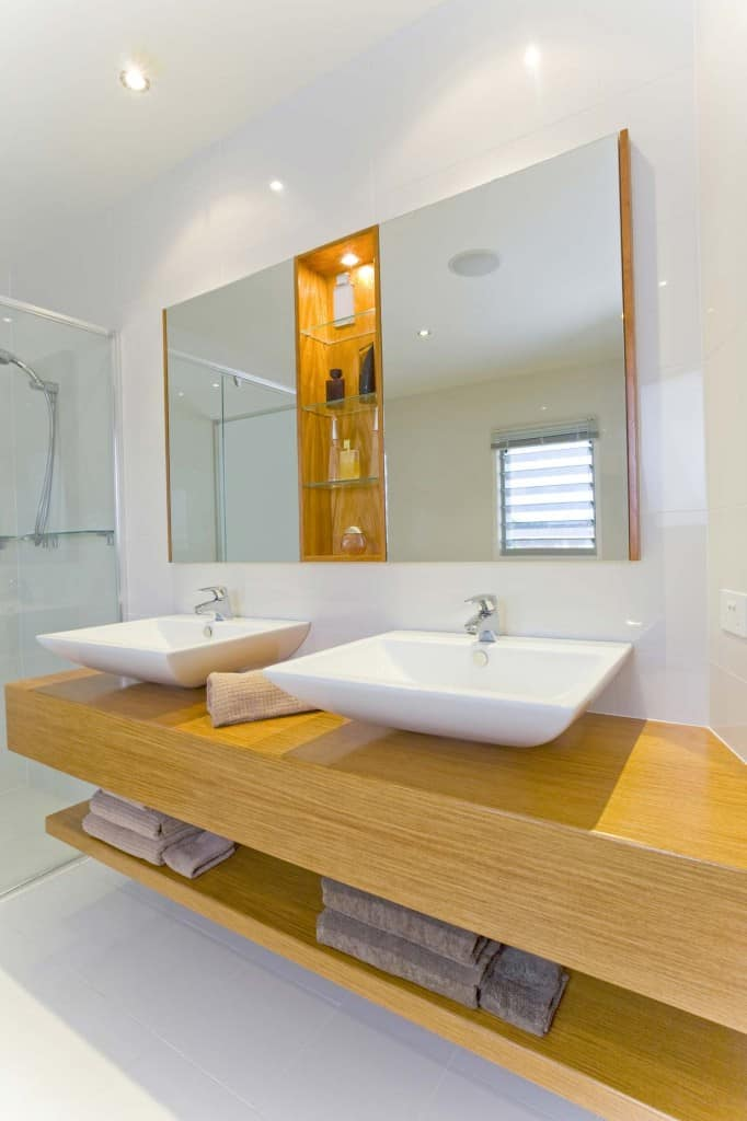dual bath sinks on wooden counter