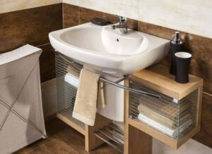 wall mounted bath sink with cabinet
