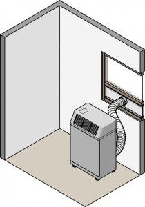Cutaway illustration of a room with portable AC unit, including hose connecting through a window.