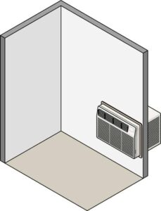 Cutaway diagram of a room with a through-the-wall air conditioning unit.