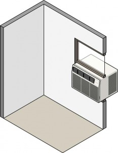 Cutaway diagram of a room with window-type AC unit, including an adjustable panel on top.