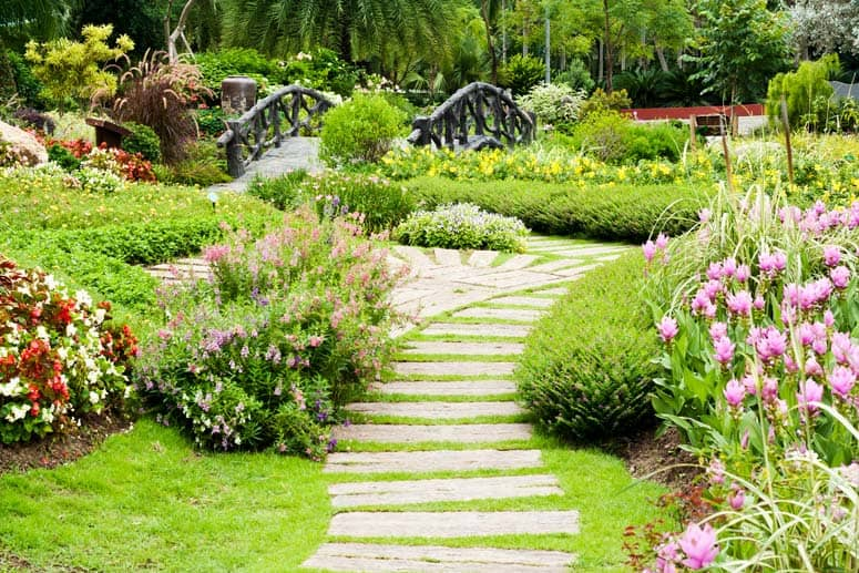 railroad ties as garden path