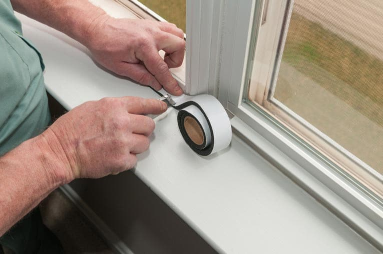 Adhesive-backed foam weatherstripping is easy to cut with a sharp knife.