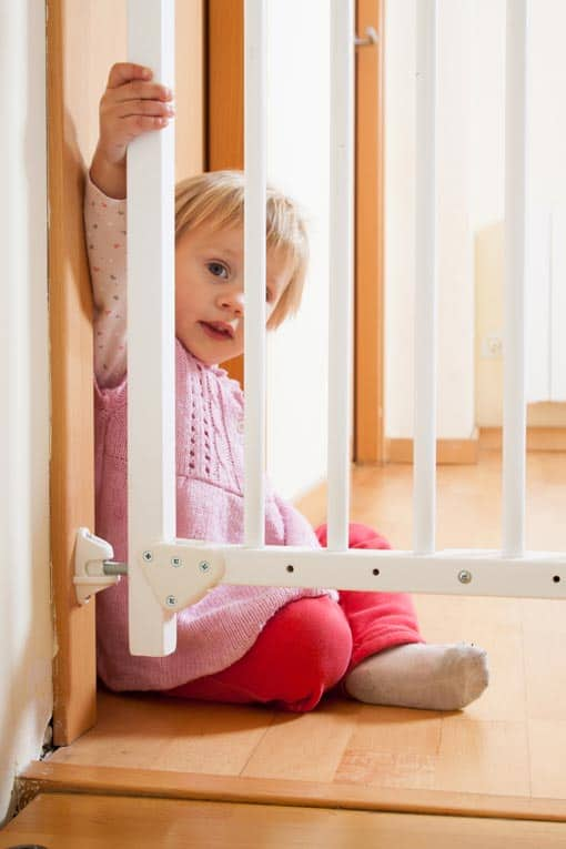 A secure baby gate can prevent little ones from trying to navigate up or down a staircase.