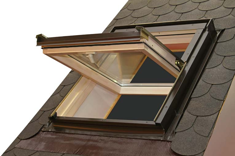 Roof window can be pivoted for easy cleaning and full ventilation.