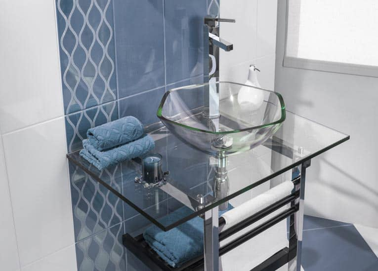 glass bathroom vanity and sink