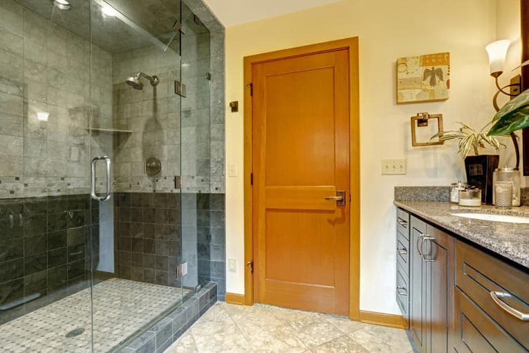 Bathroom with a steam shower enclosed with floor-to-ceiling glass wall and door.