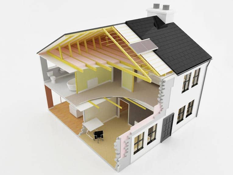 cross section of energy efficient house