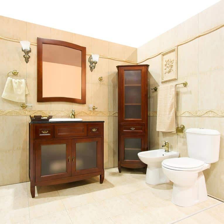 "Furniture-style cabinets really make a bathroom feel like a ""living space"" while creating a strong sense of style."