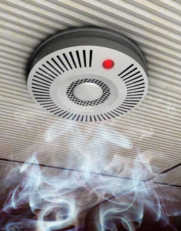 Smoke detector emits an ear-piercing alarm at the first sign of smoke. Be sure to test it periodically by pressing the test button.