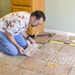 installing floor tile dry run