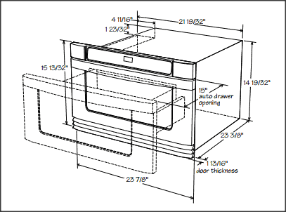 Key Installation Dimensions Of A 24 Inch Microwave Drawer Sharp Electronics