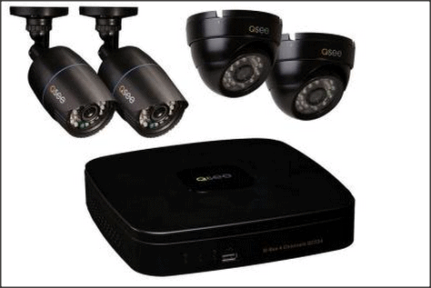 This Q-See 4-channel video surveillance system provides a DVR, two bullet-style cameras and two dome cameras. Cables and connectors are also included in the kit.