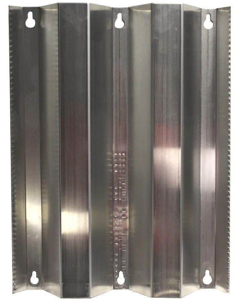 Aluminum hurricane shutter panel, with keyhole slots at top and bottom parts.