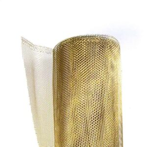 A roll of bronze wire mesh in white background.