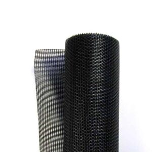 A roll of black, vinyl-coated polyester pet screening in white background.