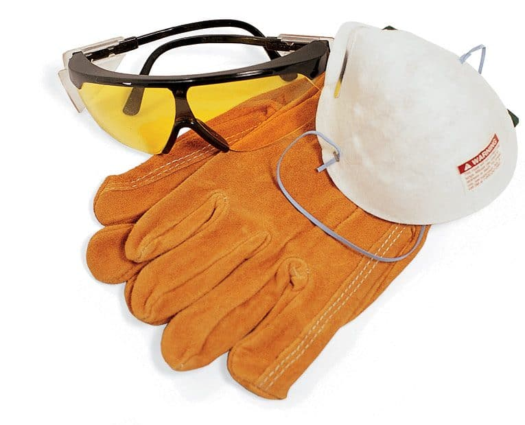Protective glasses, respirator, and work gloves