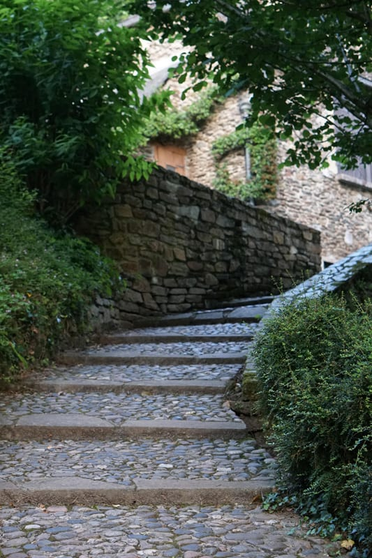 An ascending stone pathway made of cobblestone and concrete beams.