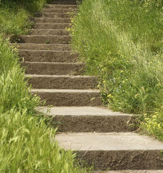 Poured concrete steps winding up a grassy hillside.